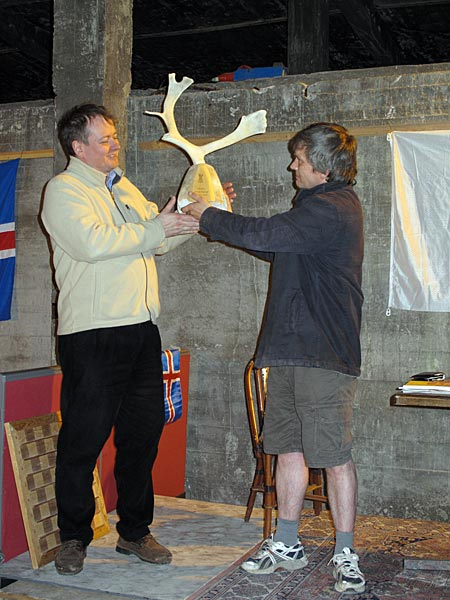 Djúpavík. 3rd chess tournament in Djúpavík. - The champ of the tournament Jóhann Hjartarson (left). (17 till 19 June 2010)