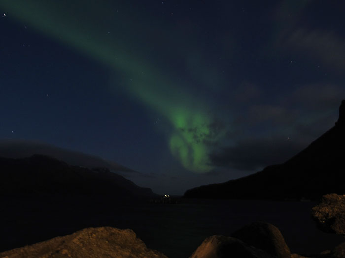 Djúpavík. Green clouds (northern lights). - ... but who is this? (10 September 2011)