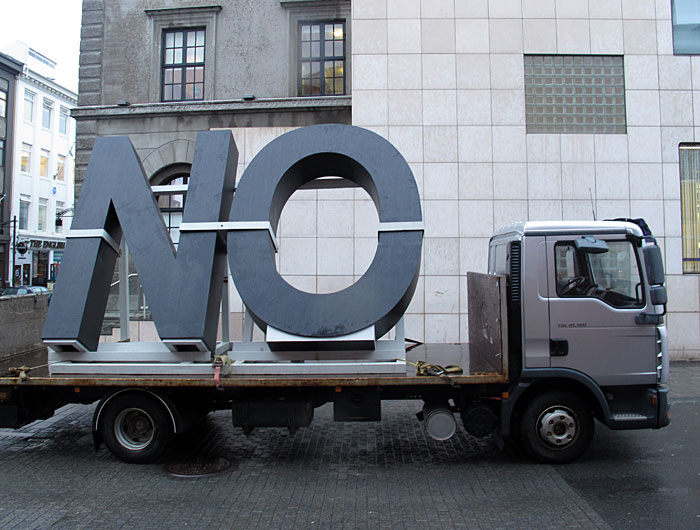 Reykjavík. 'NO Global Tour' by the artist Santiago Sierra. - ... Arrived! More details about 'NO' on a <a href='http://www.icelandreview.com/icelandreview/search/news/Default.asp?ew_0_a_id=386533' target='_blank' class='linksnormal'>page by Iceland Review</a>. (16 January 2012)