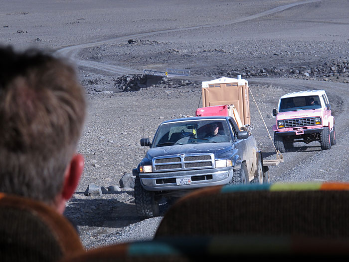 Reykjavík. Haustferð - autumn trip. IV. - On our way to the glacier <a href='http://en.wikipedia.org/wiki/Langj�kull' target='_blank' class='linksnormal'>Langjökull</a> only two vehicles passed us - two Jeeps, one in pink and another one with Dixi-toilet on the bed. Strange, strange .... (8 September 2012)