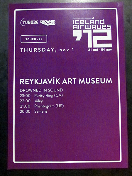 Reykjavík. Iceland Airwaves '12, part I. - Schedule for tonight - electonical musik ... (1 November 2012)
