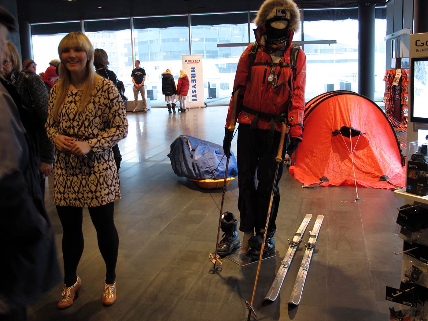 Reykjavík. Vilborg A. Gissurardóttir, from the south pole to HARPA. - Vilborg A. Gissurardóttir (left) was hiking during 60 days from the coast of Antarctica to the south pole. Today she was showing her equipment in HAPRA. More on <a href='http://www.icenews.is/2013/01/21/south-pole-journey-completed-by-icelander-vilborg-arna-gissurardottir/' target='_blank' class='linksnormal'>IceNews</a>. (3 February 2013)